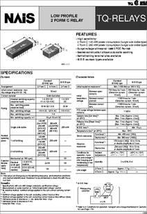 Tq2 5v Datasheet Low Profile 2 Form C Relay